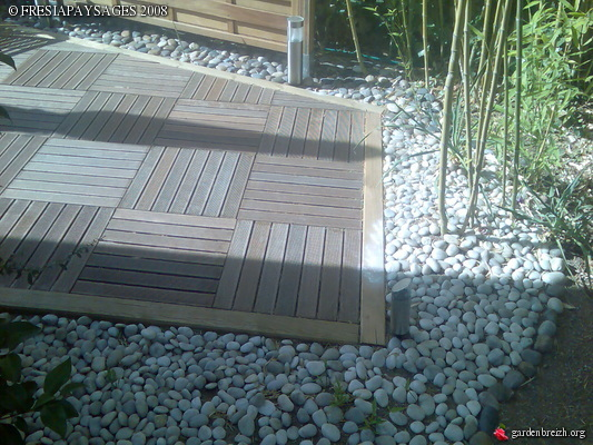 creation terrasse caillebotis + pose ecran bois  creation jardin